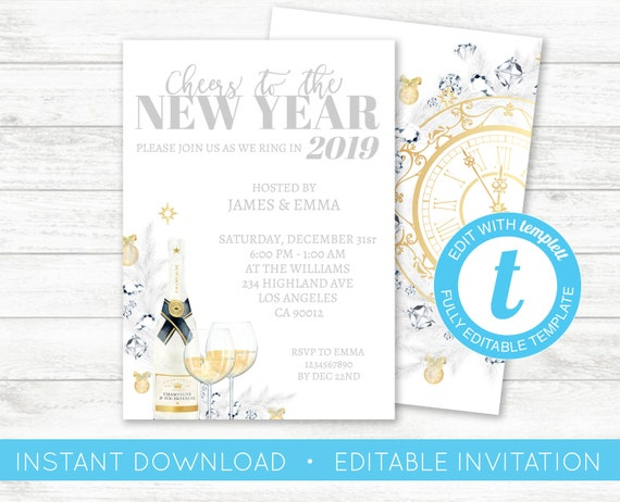 cheers to the new year invitation