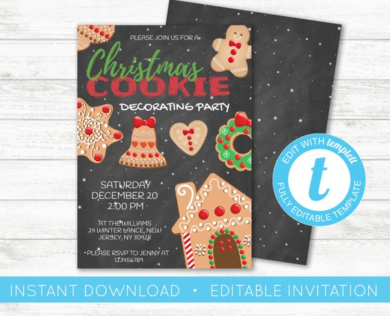 Christmas Cookie Invite Cookie Decorating Party Invitation Etsy