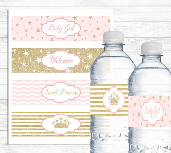 Pink And Gold Water Bottle Labels Printable Baby Shower Water Etsy