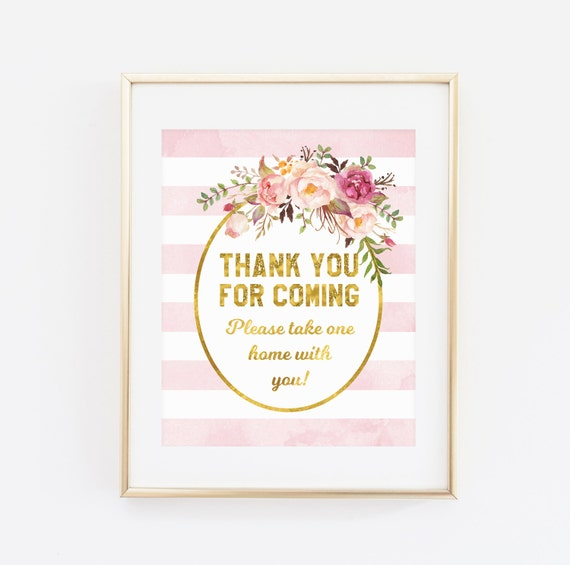 Printable Baby Shower Sign Thank You For Coming Please Take Etsy