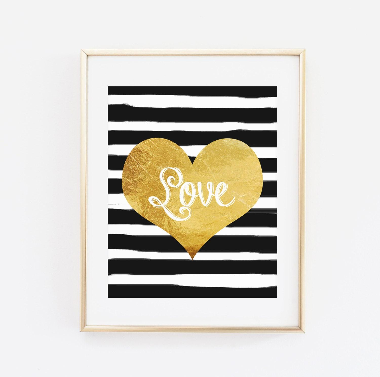 Printable Wall art Modern Home Decor Golden Heart Love Wall   Etsy