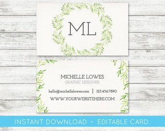 EDIT YOURSELF, Business Card Editable, Greenery Floral Custom Business Card Editable Template, Instant Download Business Card, Templett, DIY