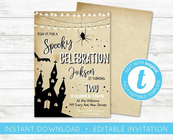 Edit yourself halloween birthday party invitation editable etsy image 0 solutioingenieria Choice Image
