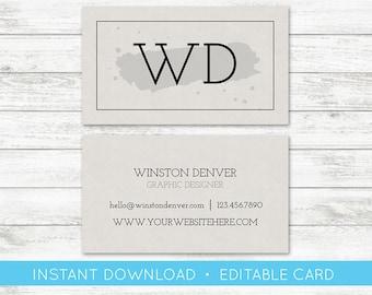 EDIT YOURSELF, Business Card Editable, Custom Business Card Editable Template, Instant Download, Simple Business Card, Templett, DIY Card