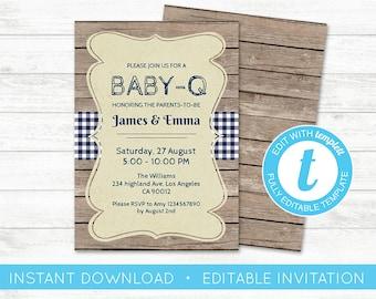 EDIT YOURSELF, Baby-Q Baby Shower Invitation, Country BabyQ BBQ invite, Baby Shower Rustic editable invitation bbq Blue Boy invite Templett