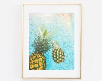 Pineapple Print, Photography Print, Printable Wall Art, Pineapple Art, Pineapple Photography, Summer Print, Summer Wall Art, Pool, Water Art