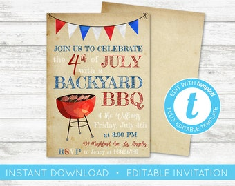 EDIT YOURSELF, Fourth of July Invitation, 4th of July Invitation, Backyard BBQ Invite Editable Invite, 4th of July Instant Download Templett