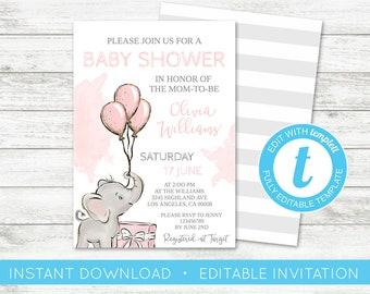 EDIT YOURSELF, Baby Shower Invitation, Girl Elephant Pink Gold Invitation, Cute Elephant Baby Shower Invite, Editable Invitation, Templett