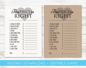 EDIT YOURSELF, Baby shower Game, the price is right editable baby shower game boy gender neutral templett baby shower game, price is right