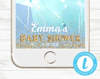 EDIT YOURSELF, Templett Snapchat Geofilter, Editable Snapchat Geofilter, Instant Download, Baby Shower Blue Gold Glitter Templett Baby Boy