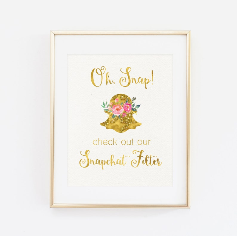 photograph relating to Printable Snapchat Logo titled Instantaneous Down load, Snapchat Signal, Oh snap, Hashtag Snapchat Indicator Printable Marriage Signal Geofilter Snapchat Indication Printable Floral Gold indicator