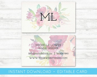EDIT YOURSELF, Business Card Editable, Watercolor Floral Custom Business Card Editable Template, Instant Download Business Card, Templett