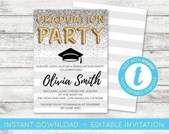 EDIT YOURSELF, Graduation Party invite, Editable Invitation, Printable Boho Graduation Invite Floral editable Graduation Invitation Templett