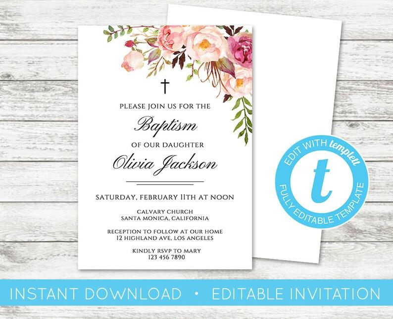 EDIT YOURSELF Baptism Invitation Christening Invite Floral Baptismal Editable Girl Religious Templett