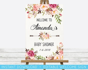 EDIT YOURSELF, POSTER Baby Shower Welcome Sign, Baby Shower Floral Sign, Editable Baby Shower Print, Welcome Sign, Custom Editable Sign