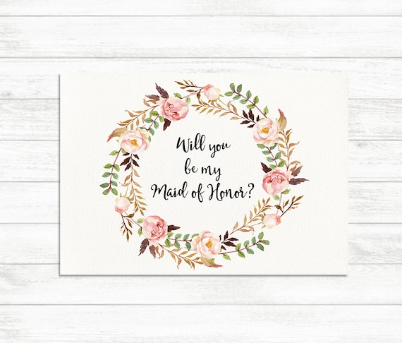 photo relating to Will You Be My Maid of Honor Printable named Will Oneself Be My Maid of Honor, Floral Printable Maid of Honor Card, Maid of Honor Proposal Card, Floral Bridesmaid Printable