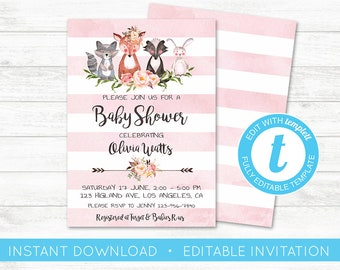 EDIT YOURSELF, Floral Woodland Animals Baby Shower Invitation, Editable Baby Shower invitation, Woodland Invite, Girl Pink Template Templett