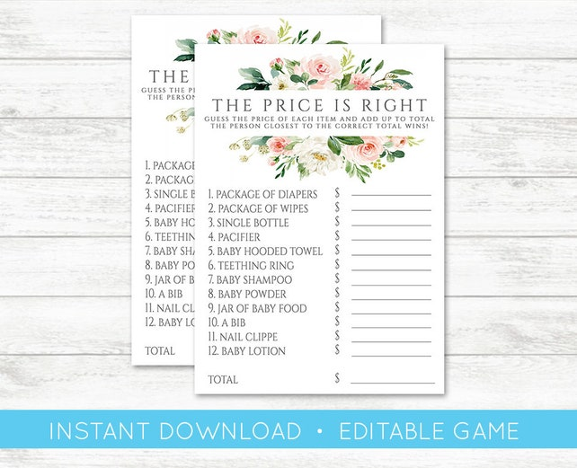 EDIT YOURSELF Baby Shower Game The Price Is Right Editable Pink Floral Templett