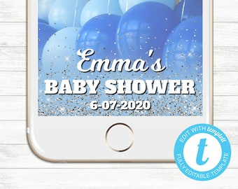 EDIT YOURSELF, Templett Snapchat Geofilter, Editable Snapchat Geofilter, Instant Download, Baby Shower Blue Silver Glitter Templett Baby Boy