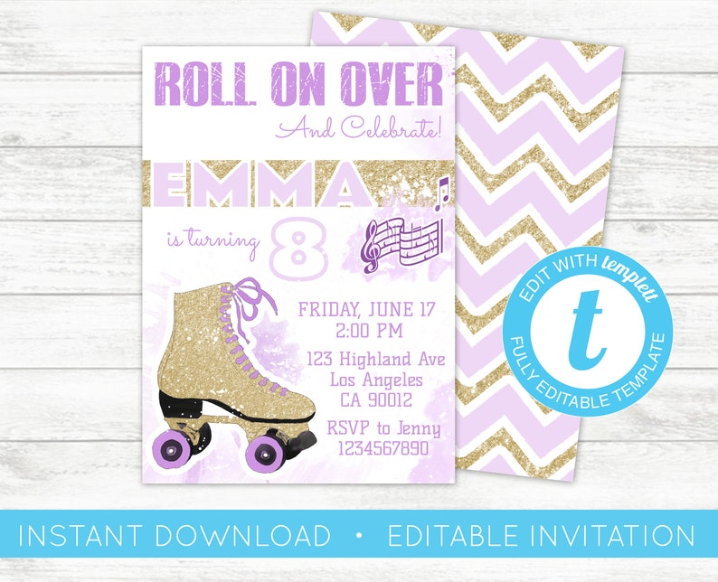 image about Roller Skate Template Printable called EDIT By yourself, Roller Skate Invitation, Skating Occasion, Woman skate Electronic Invite, rollerskate Birthday Printable, Editable Template Templett