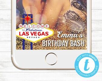 EDIT YOURSELF, Templett Snapchat Geofilter, Editable Las Vegas Birthday Party Geofilter, Vegas Birthday Snapchat Party, Las Vegas Filter