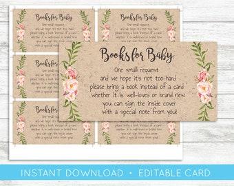 EDIT YOURSELF, Books for Baby Card, Editable baby shower card, Books for baby, Bring a Book Baby shower Boy Girl, Gender Neutral, Templett