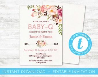 EDIT YOURSELF, Baby-Q Baby Shower Invitation, Floral Girl BabyQ BBQ invite, Baby Shower Pink editable invitation bbq co-ed invite Templett
