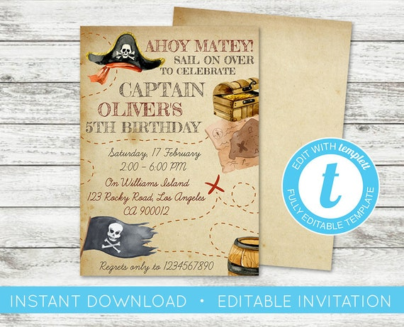Edit yourself pirate invitation treasure map invite etsy image 0 solutioingenieria Image collections