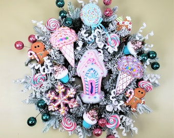 Christmas Candy Wreath, Sweet Treats for Christmas Wreath, Candy Door Decor, Whimsical Candy Wreath, Gift for child