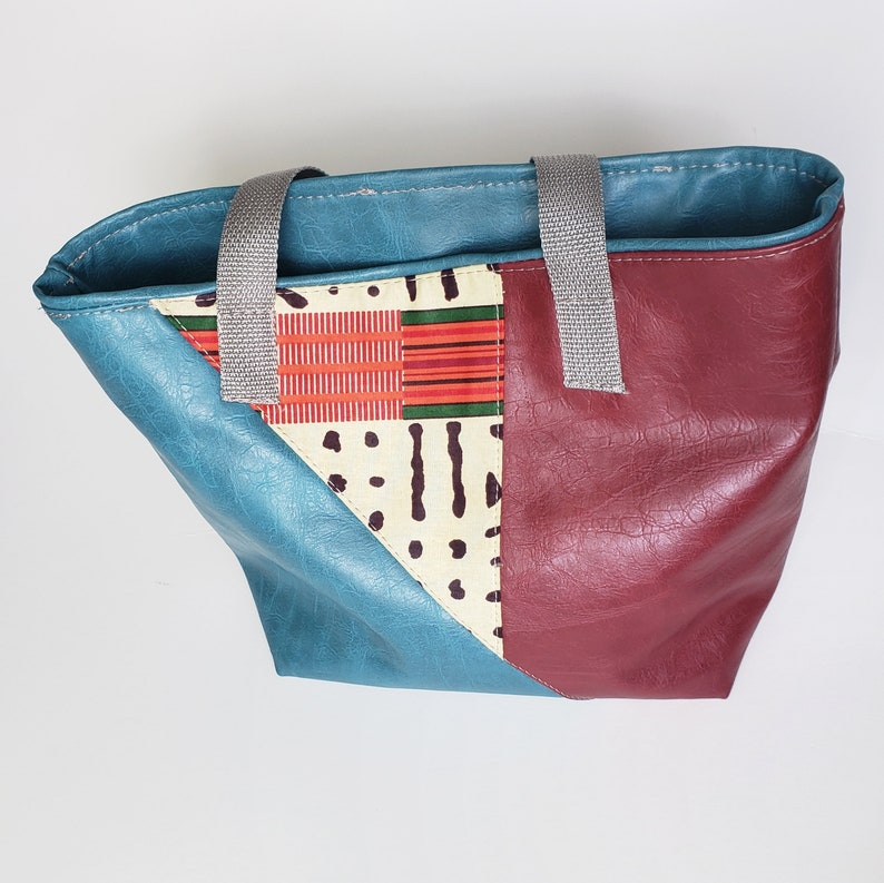 Red and Blue Vegan Leather Tote Faux Leather Tote Small Tote African Print bag Statement Tote bag