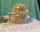 Two Vintage Pyrex Cinderella Stacking Bowls. Mushroom Print