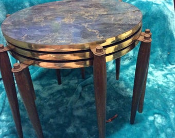 Vintage Mid Century Nesting Tables, Faux Marble Mid Century Nesting Tables, MCM Nesting Tables