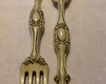 X Large Fork And Spoon Wall Decor, Rustic Rugged Wood Looking Decor