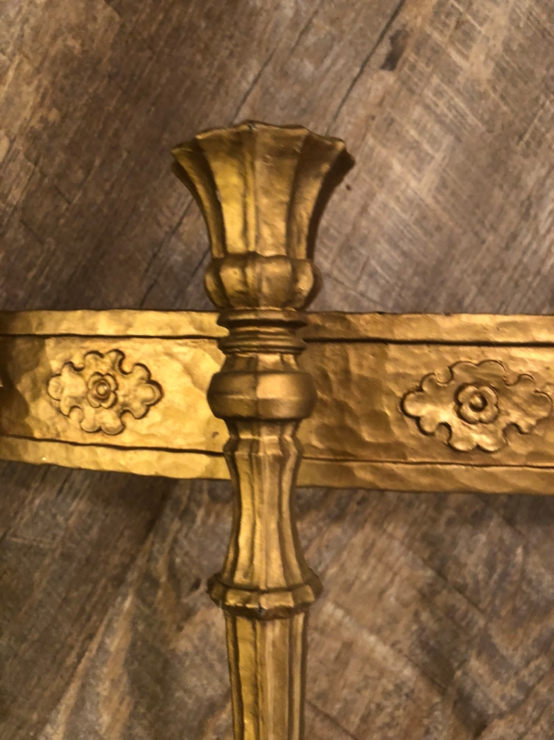 Large Vintage Syscro  Home Interior Gold 9 Arm Wall Sconce