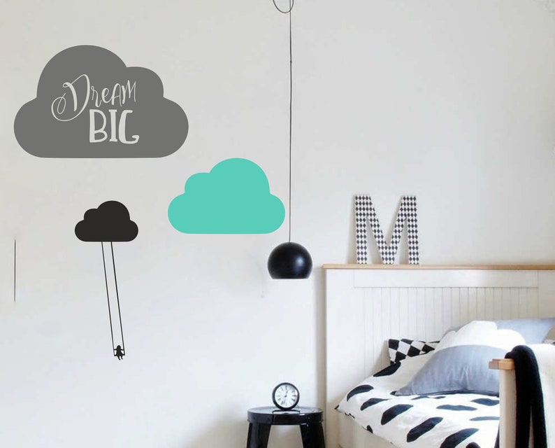wall sticker dream big clouds to the room | etsy