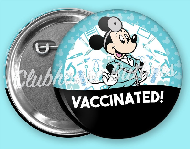 Mickey Mouse Vaccinated Button Disney inspired Vaccination image 0