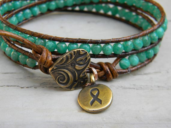 Teal Bracelet For Cervical Or Ovarian Cancer Awareness And Etsy
