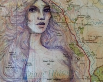 Woman Map Art Print. Alba. Upcycled Cairngorms OS map. Eco friendly print.