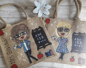 PERSONALISED HAND PAINTED TEACHERS GIFT LARGE JUTE BAG ANY STYLE OR NAME//theme