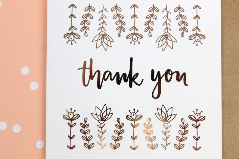 Floral Print Greeting Card Hand Lettering Botanical Print Rose Gold Thank You Card B3 Line Drawing Wedding Thank You Cards
