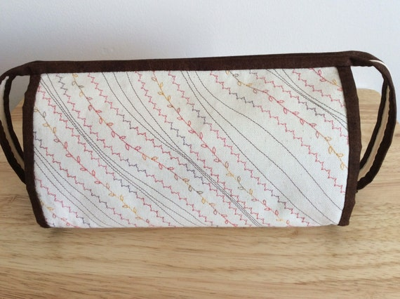 PINK CALICO Quilted cotton embroidery needlework scissor holder