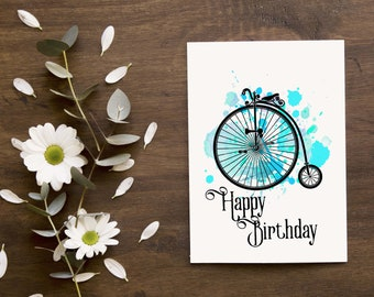 happy  birthday penny farthing in blue, manly birthday card, greeting card