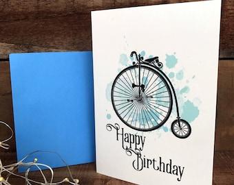 happy  birthday penny farthing in blue, manly birthday card, greeting card