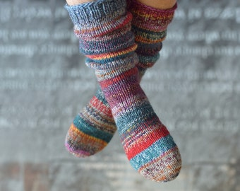 Colorful Hand knitted 3738 thick wool socks