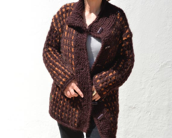 bordeaux orange, dicke Wolljacke ,handgestrickt small medium