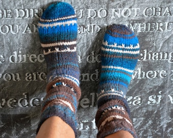 Thick House socks, 42/43 brown/Blue