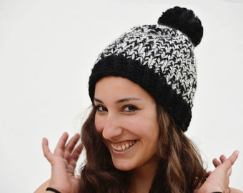Thick, black and white wool cap