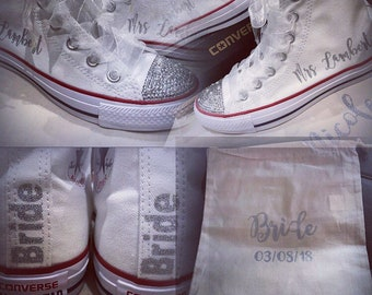 75e9b6cb5600 Customised personalised wedding converse high tops bling