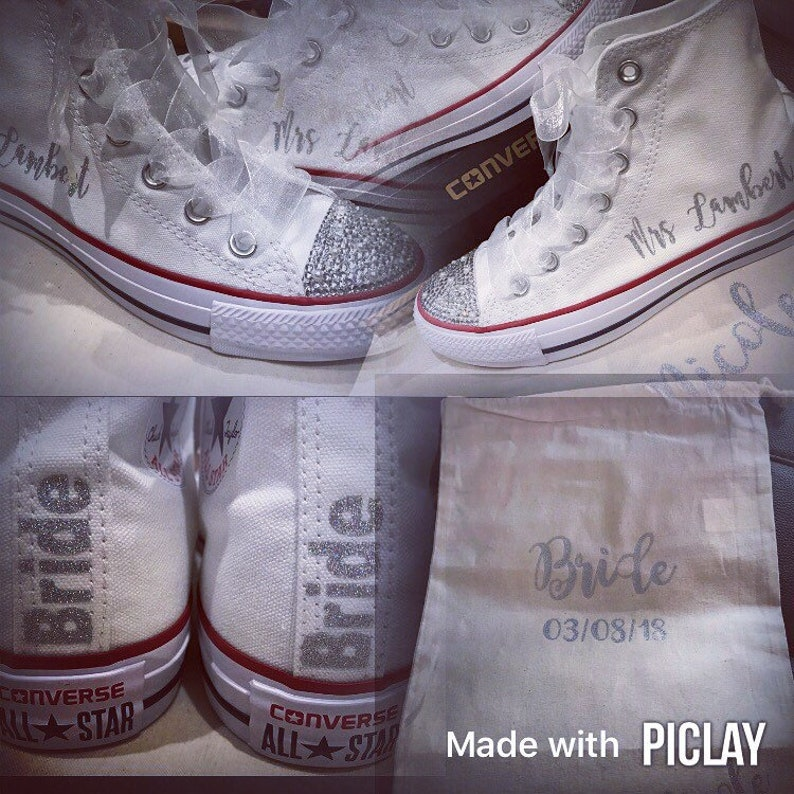 c8a85cd9d845 Customised personalised wedding converse high tops bling