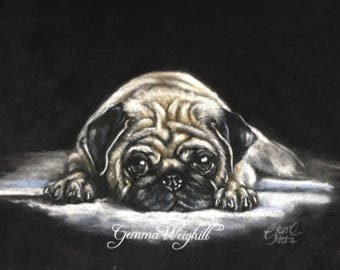 Pugs Life Original Pastel Painting